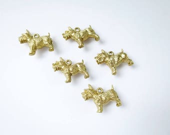 Gold Micro Miniature Scottie Dog Charms, Assemblage Jewelry Mixed Media Craft Supply, Mini Miniature Dogs, Charm Bracelet, Gold Dog Charms