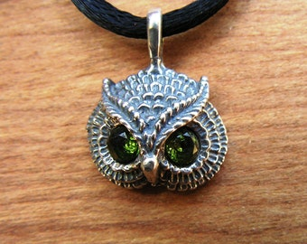 Sterling Silver Owl Pendant With Peridot Eyes