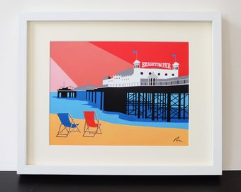 Brighton Pier themed Mounted Fine Art Print - British Seaside - Art Deco - Travel Poster - by Rebecca Pymar