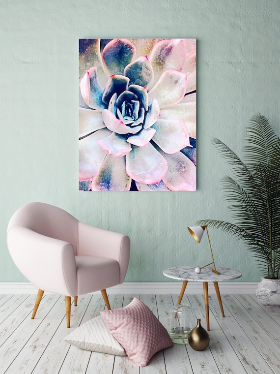 """Pink Succulent. Extra Large Pink Blue Succulent Canvas Art Print, Tropical Canvas Art Print  up to 72"""" by Irena Orlov"""