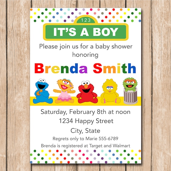 Awesome Mini Muppets Baby Shower Invitation Boy Or Girl Neutral