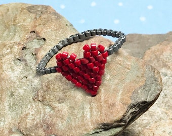 Red Heart Ring Peyote Ring Seed Beaded Ring Valentine Bead Ring Beadwork Ring Beaded Band Ring Grey Beaded Ring Bead Stitched Ring