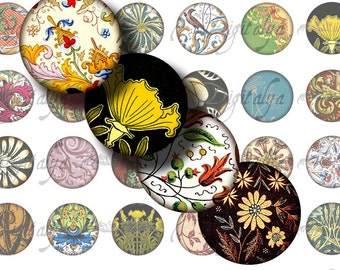 FOLIAGE (2) Digital Collage Sheet - Circles 48 Tiles 1inch or smaller - Oriental Victorian Rococo Art Nouveau - see promo offer