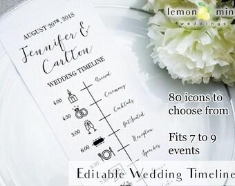 Editable wedding timeline card, printable wedding timeline with icons, customizable wedding day timeline, PDF wedding timeline template