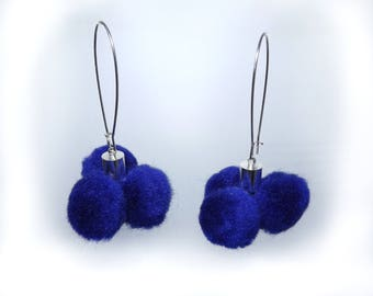 Pom Pom Earrings-Navy Blue-Cornflower Blue Earrings-Fun Pompom Earrings-Boho Earrings-Thread Jewelry-Fluffy-Blueberry