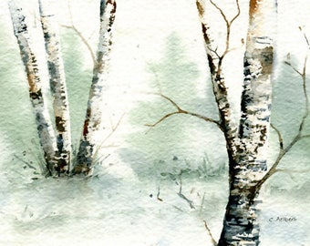 Winter Landscape Painting Original Watercolor