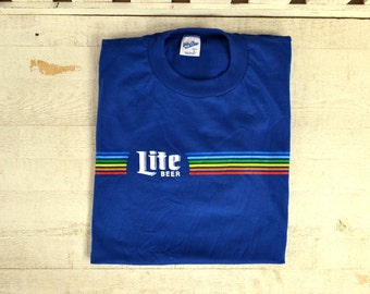 NOS M L Lite Beer Velva Sheen T Shirt Large 100% Cotton Royal Blue Rainbow Screen Print Tee 1970s 1980s Miller Lite Shirt Lite Beer T Shirt U8J0u5