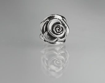 Pair of 9mm Sterling Silver Rose Blossom Beads Flower Bead Set of 2