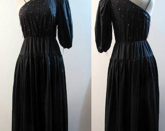 1980's Designer Lillie Rubin One Sleeve Dress with Rhinestones Size 8