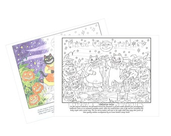Halloween Soiree Coloring Sheet Digital Download - PDF & JPG formats