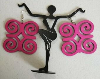 Pink Adinkra African Wooden Earrings Wholesale/ Ram's horn Earrings/ Hand Made Earrings/Women's Earrings/ Afrocentric Earrings