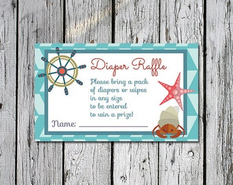3 x 5 Nautical Diaper Raffle Card for gender neutral sea nautical ocean themed baby shower - instant download printable