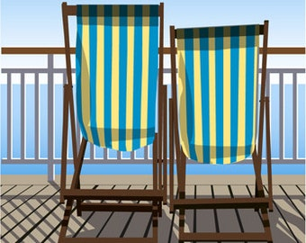 BOURNEMOUTH. Deck Chairs on the boardwalk of Bournemouth Pier overlooking the sea, Dorset Coast. A4, A3, A2 in Retro, Art Deco style design