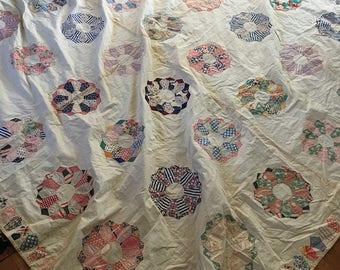 ANTIQUE Quilt FLOWERS 1930s Hand Stitched HUGE
