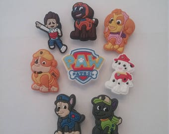 CLEARANCE 8 Pieces Paw Patrol PVC Rubber Shoe Charms Cupcake Toppers Party Favors!