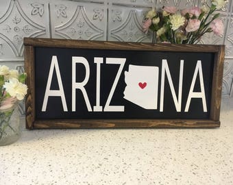Arizona sign. Home state sign. State sign. Gallery wall. Custom home state wood sign. Wooden wall art.
