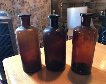 Apothecary bottles lot of 3 empty