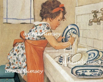"Kitchen Art Print, Vintage Art Print, Doing Dishes Art  ""The Dishwasher #558"