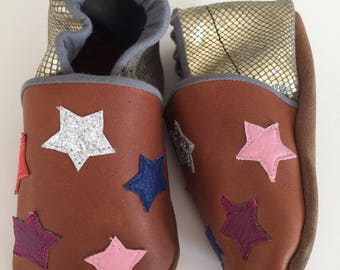 Baby leather star shoes