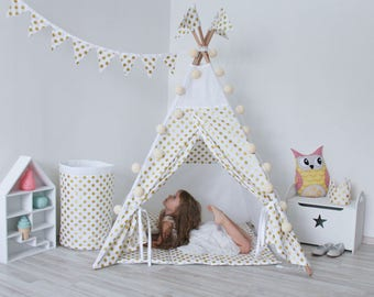 READY TO SHIP Golden Dots Teepee Tipi Play Tent Play House Nursery Teepee Tent Kids Teepee Wigwam Indoor Baby gift Christmas gift for kids