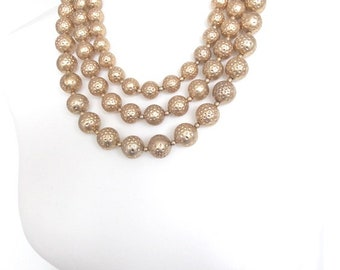 Chunky Three Row Gold Bead Statement Necklace