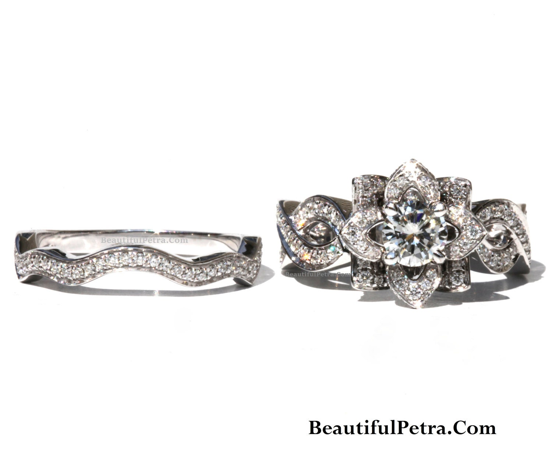 Ever blooming love set infinity diamond engagement flower zoom izmirmasajfo Choice Image