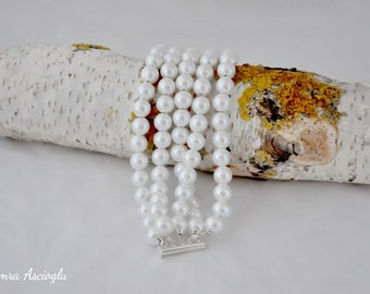 5 strands bold chunky white pearl bracelet for brides, bridesmaids gift