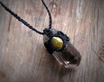 Macrame necklace. Macrame stone pendant. Micromacrame necklace. Gemstone healing jewelry. Long pendant. Pastel Necklace. Crystals Necklace