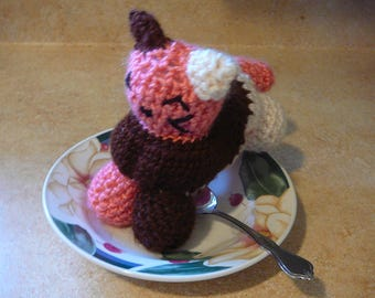 Neapolitan cat / Mythical cats / crochet cat plushy / Ice cream cat