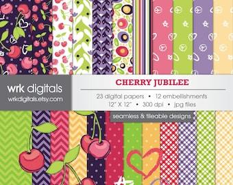 Cherry Jubilee Seamless Digital Paper Pack, Digital Scrapbooking, Instant Download, Floral, Acorn, Paisley, Leaves