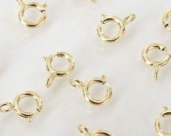 50 Pcs - 14K Gold Filled 5mm Spring Ring Clasp, Made in Italy, GF1