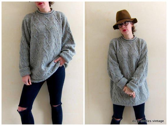 90s Irish Sweater | Speckled Wool Sweater | Oversized Long Tunic Sweater | Sage Green Wool Jumper | Womens XL
