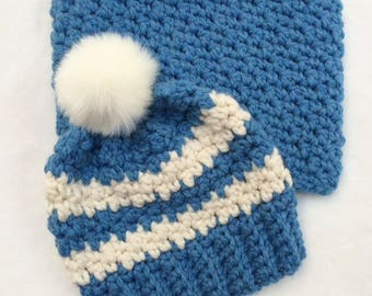 Crochet Chunky Stripped Beanie and Snood Set