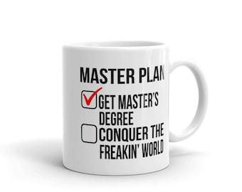 Masters Degree Graduation Gift White Coffee Mug Graduate School Student Mugs Men Women Birthday Christmas Present