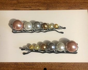 Beaded bobby pins hair accessories glass pearl beads new handmade
