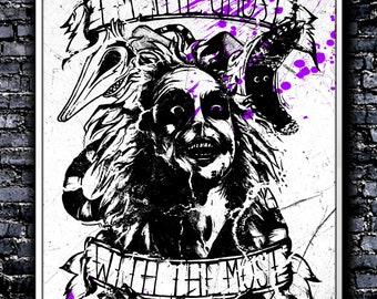 Monochrome I'm The Ghost With The Most - A4 Signed Art Print (Inspired by Beetlejuice)