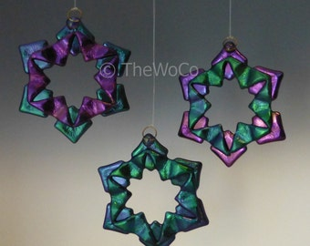 BAUBLES Cool Tones Black Iridized Snowflake, Fused Glass Ornament Suncatcher