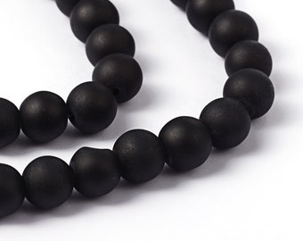 Black Beads Frosted Glass Beads 8mm Round Glass Beads Wholesale Beads Matte Black Beads 8mm Beads 105 pieces
