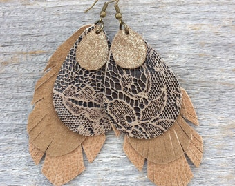 Leather Feather Earrings with Lace Leather - Distressed Metallic - and Taupe Suede Leather in Neutals on Antique Brass Hooks by Stacy Leigh