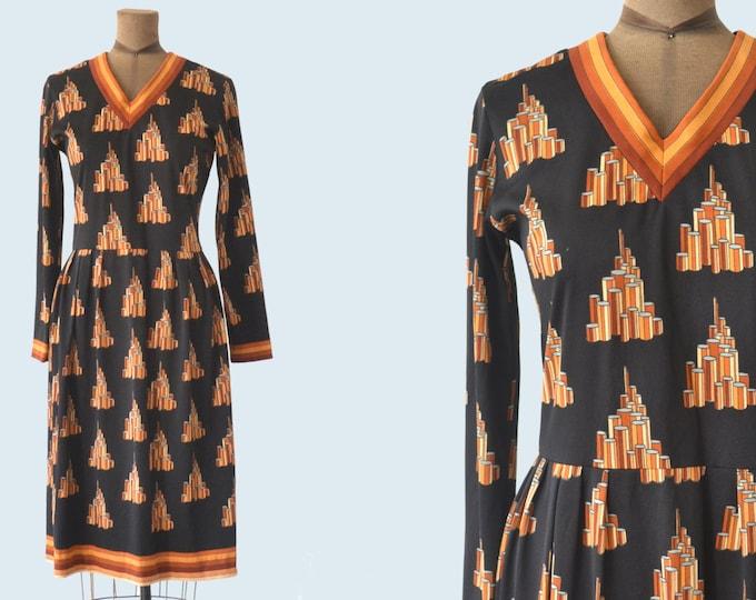 1960s Lanvin Geometric Print Dress size M