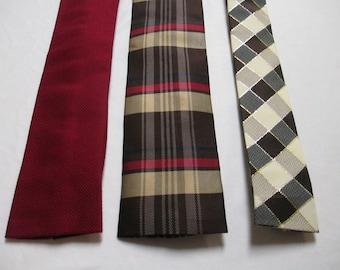 NECKTIE MENS Vintage Neck Tie  -  Instant Collection of 3 ties - Square End Ties - Dark Red, Plaid, Diagonal