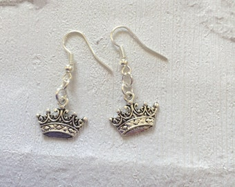 Princess Crown Earrings, Crown Earrings,  Princess Earrings, Silver Earrings, Wedding Earrings, Princess Jewellery, Silver Drop  Earri
