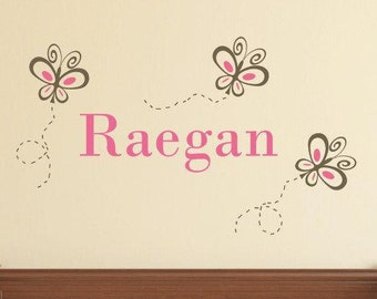 Girl Butterflies Wall Decal - Personalized Name Vinyl Wall Decal - Monogrammed Vinyl Lettering - Girls Room Decor - Baby Girl Nursery