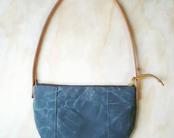 Small waxed canvas purse