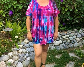 Plus Size Tops, Plus Size Tie Dye, Boho Tops, Summer Tops, Womens Cotton Gauze Top, Fuchsia, Purple & Blues, L/XL or 2X/3X