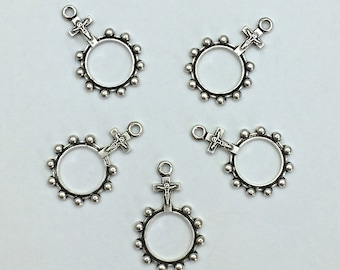 10pc Jesus Charm // Circle // Cross // Croo // 21mm // Heavy Antique // DYI // Made In The USA by Winky&Dutch