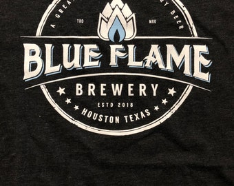 Tri-blend Charcoal Blue Flame Tee  Womens