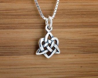 STERLING SILVER Small Celtic Love Knot- My ORIGINAL Charm or Earrings - Chain Optional