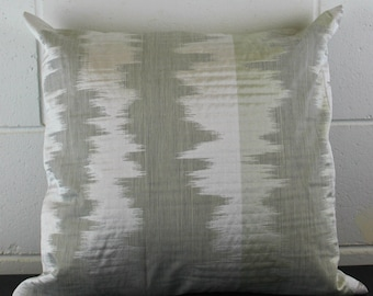 Ikat Silver, Beige, Silver Exclusive Design Cushion Pillow Cover by Peacock and Penny. 45cms x 45cms