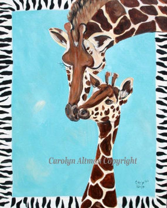 Giraffe and Baby Painting | Big Giraffe and Baby Acrylic Medium Painting
